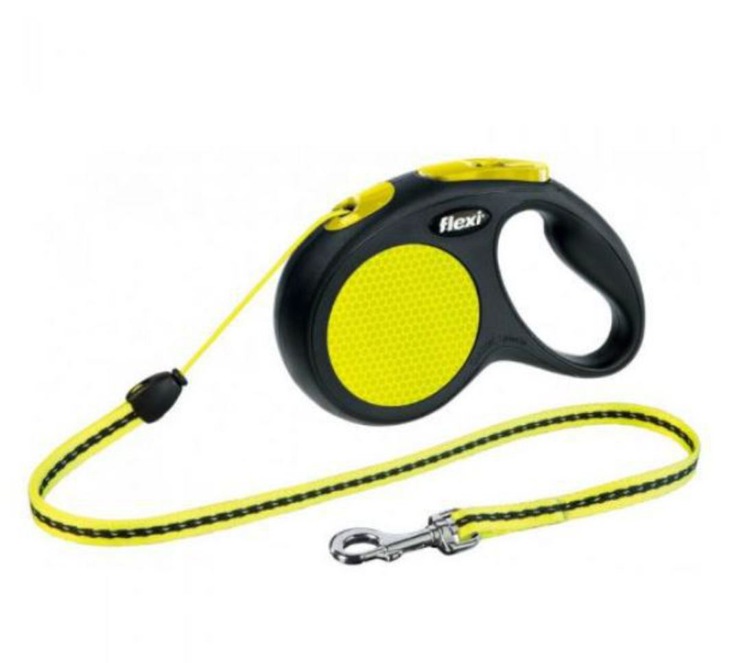 Flexi New Classic Neon Cord Retractable Leash 5m (S) Dogs uo to max 12kg image 0