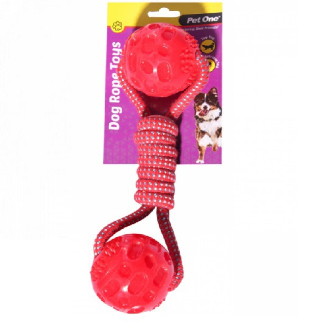 Dog Toy Rope With Dumbell TPR Balls Red 28cm image 0