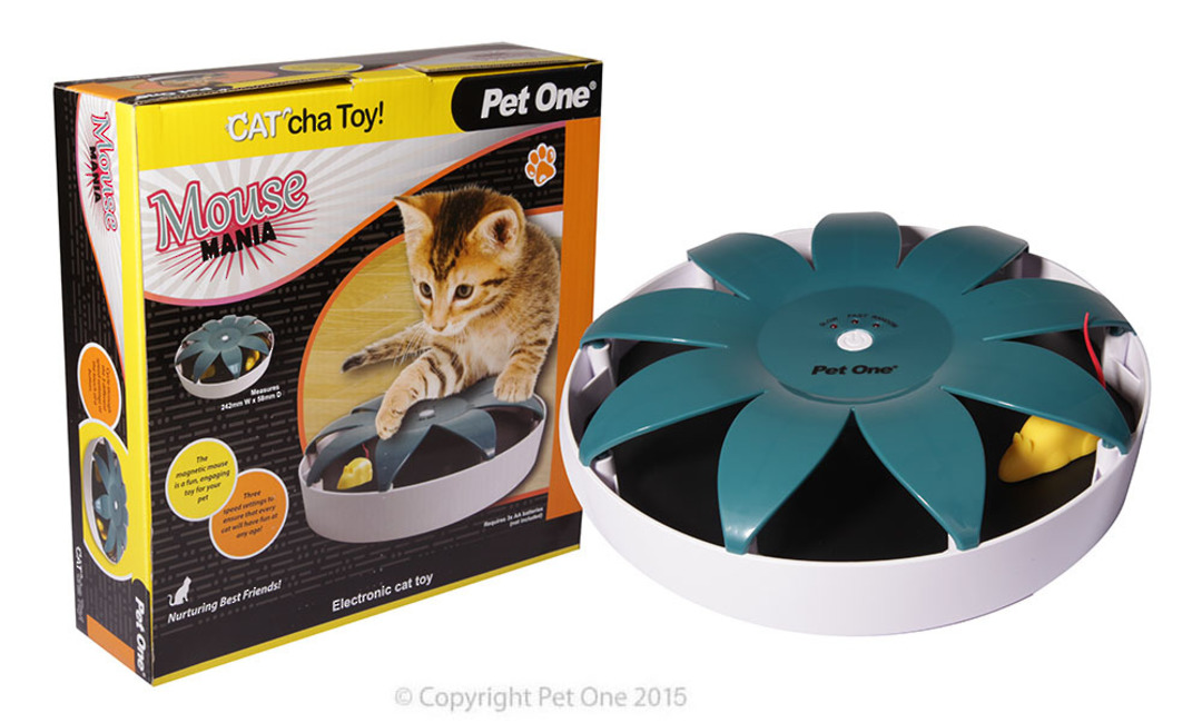 Pet One Cat Toy Cat'cha Mouse Mania Batt image 0