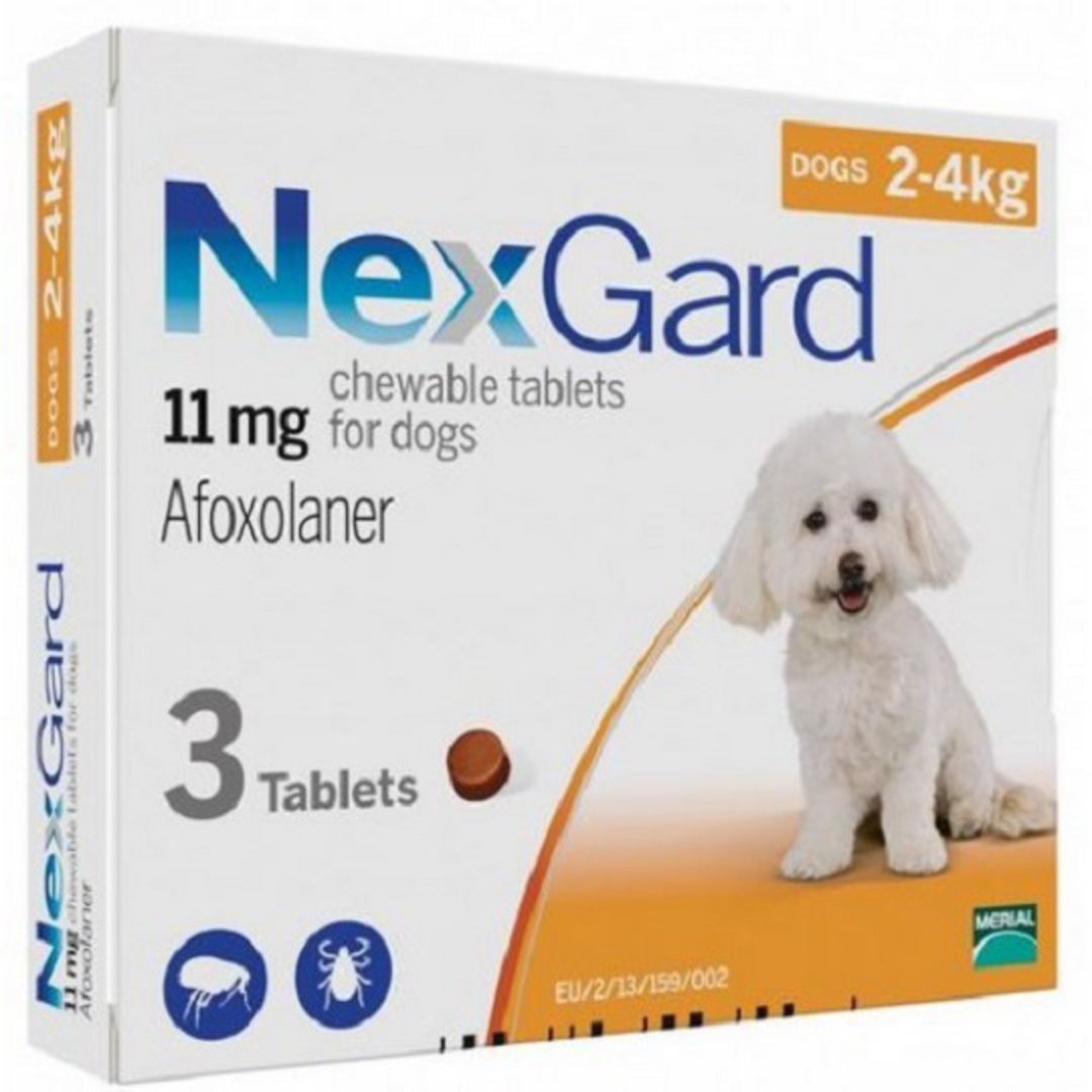 NexGard Chewable Flea Treatment for Very Small Dogs 2-4kg (Orange / 3 chewable) image 0