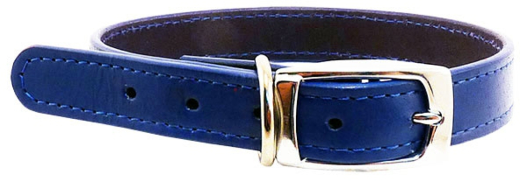 Leather Stitched Collar Blue (12mm x 35cm) image 0