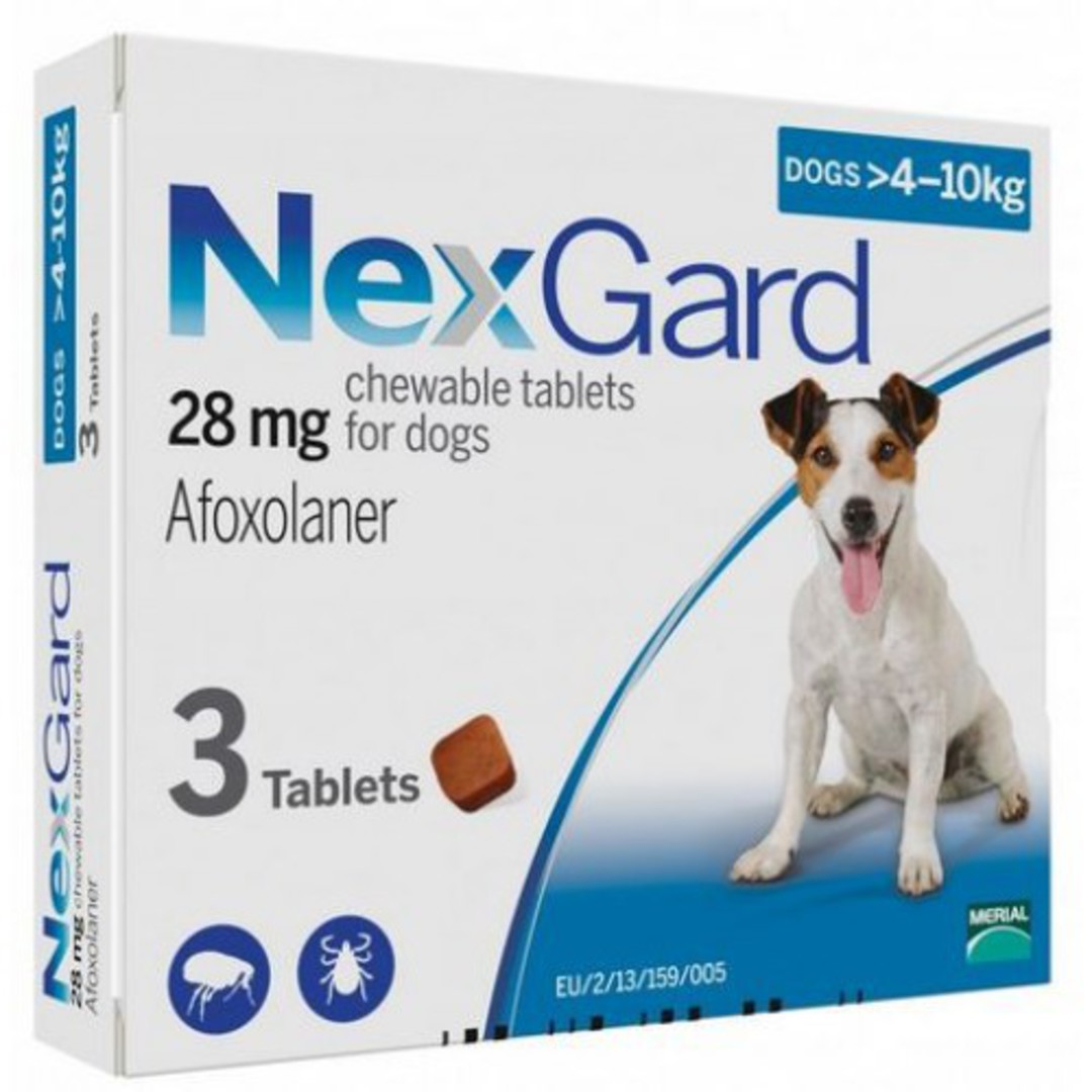 NexGard Chewable Flea Treatment for Small Dogs 4-10kg (Blue / 3 chewable) image 0