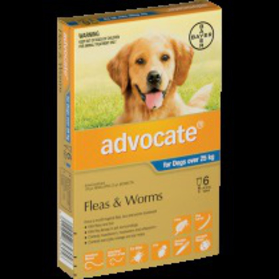 Advocate Spot-on Flea and Worm Treatment for Very Large Dogs +25kg (Blue / 6 pippets) image 0