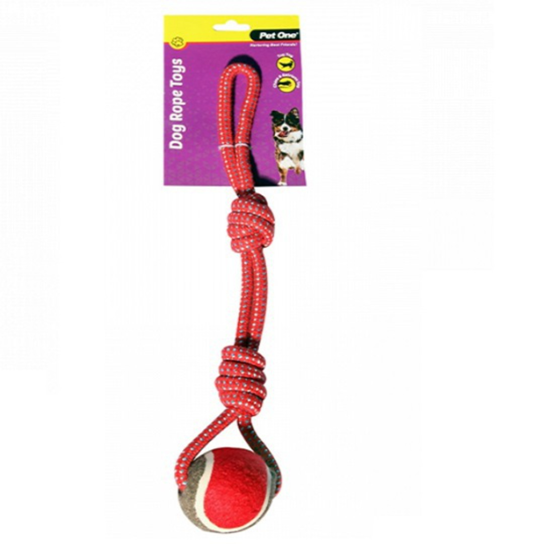 Dog Toy Rope 2 Knot with Tennis Ball Red/Blue 43cm image 0