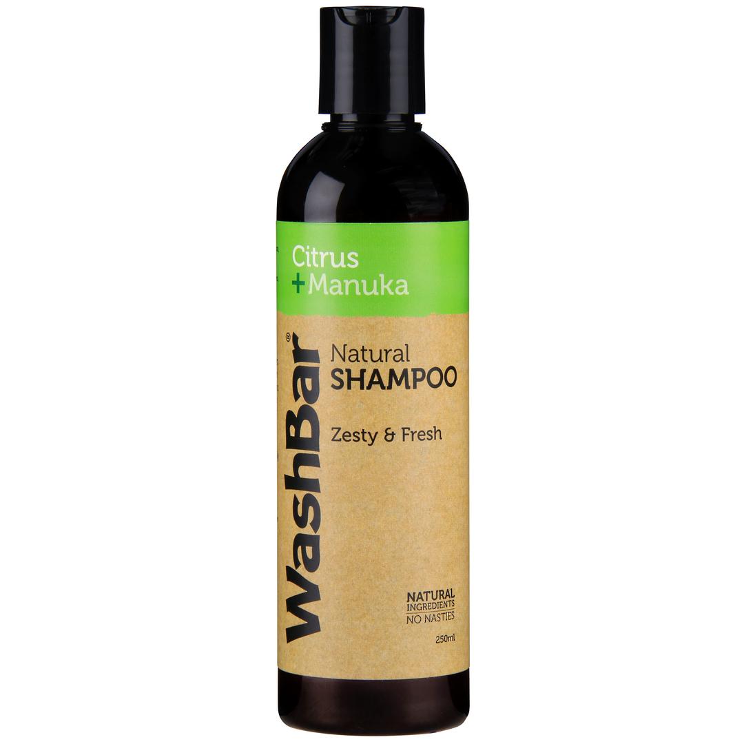 WashBar Natural Shampoo - Citrus and Manuka - 250ml image 0