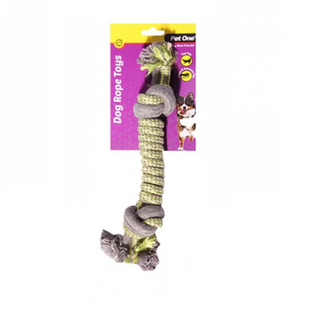 Dog Toy Rope Spiral With 2 Knots Green/Grey 31cm image 0