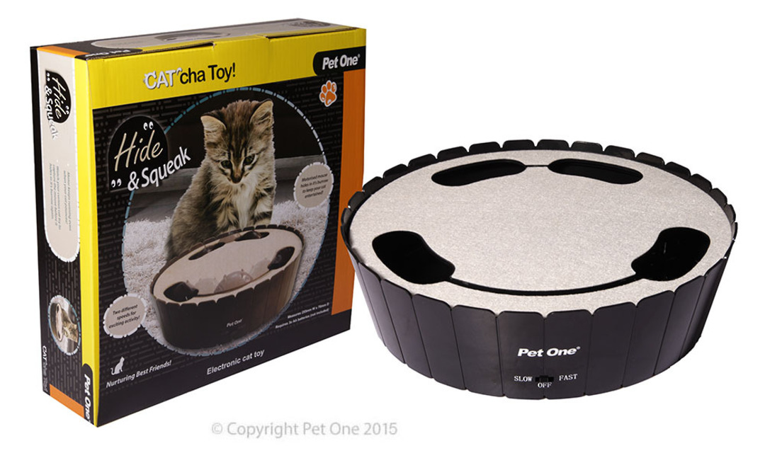 Pet One Cat Toy Cat'cha Hide & Squeak Batt image 0