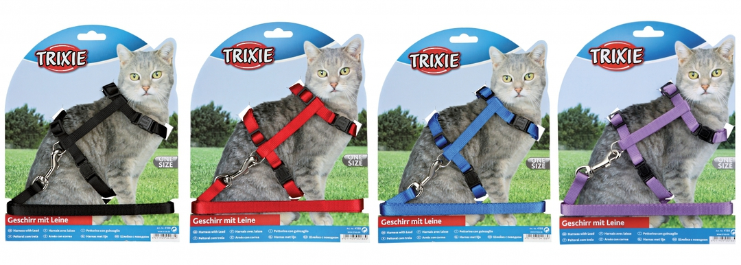 Trixie Cat Harness & Lead (Black, Red, Blue or Purple) image 0