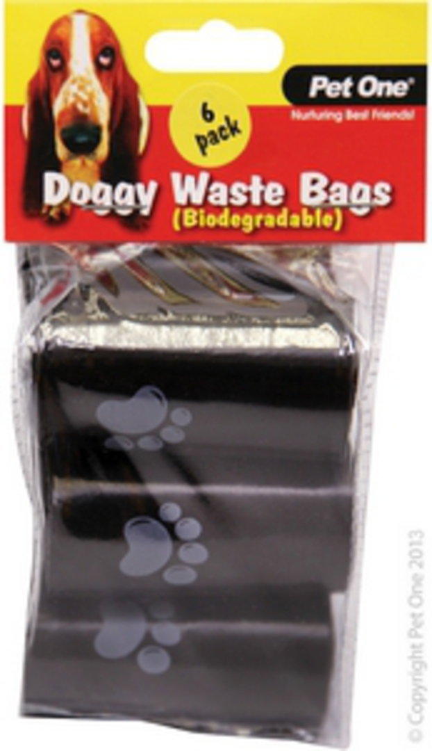 Pet One Doggy Waste Bags 6pack x 20pcs/Roll (Biodegradable) image 0
