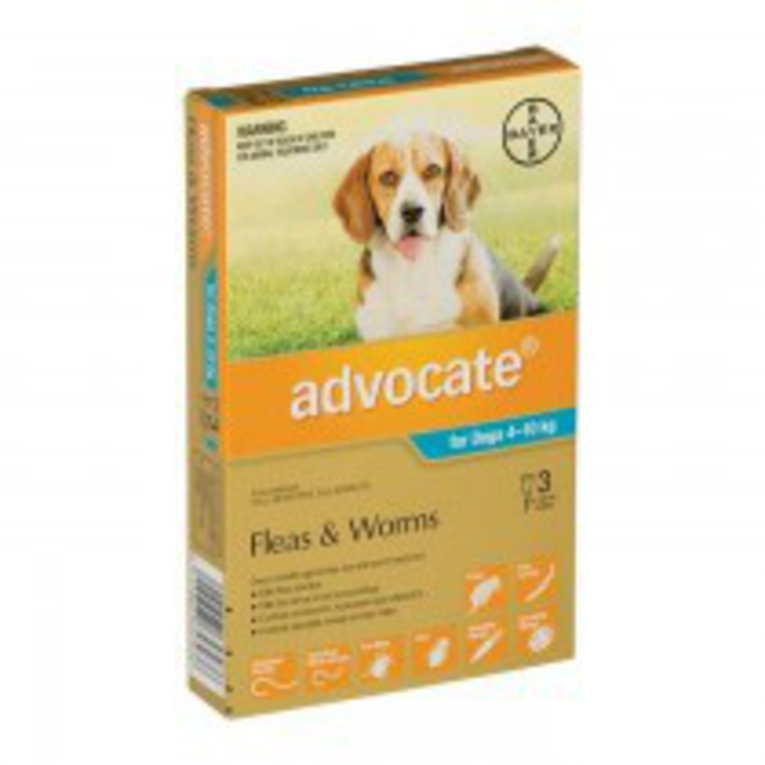 Advocate Spot-on Flea and Worm Treatment for Medium Dogs 4-10kg (Turquoise / 3 pippets) image 0