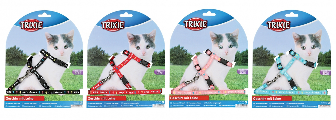 Trixie Kitten Harness & Lead (Black, Red, Pink or Blue) image 0