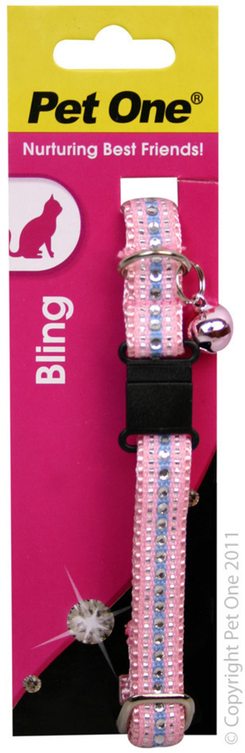Pet One Collar for Cat & Kitten Bling with BREAKAWAY Clip 12mm x 30cm Pink image 0