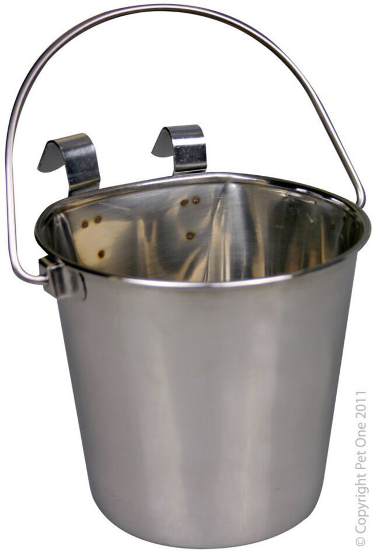 Pet One Hanging Flat Sided Stenless Steel Pail 2.25L image 0