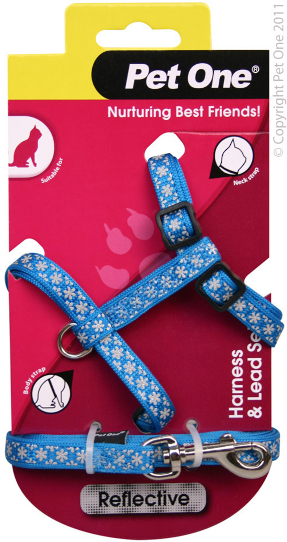 Pet One Harness & Lead Set for Cat & Kitten Reflective and Adjustable 10mm x 15-22.5cm Blue image 0