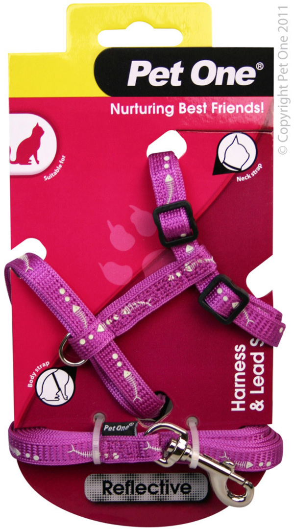 Pet One Harness & Lead Set for Cat & Kitten Reflective and Adjustable 10mm x 15-22.5cm Purple image 0
