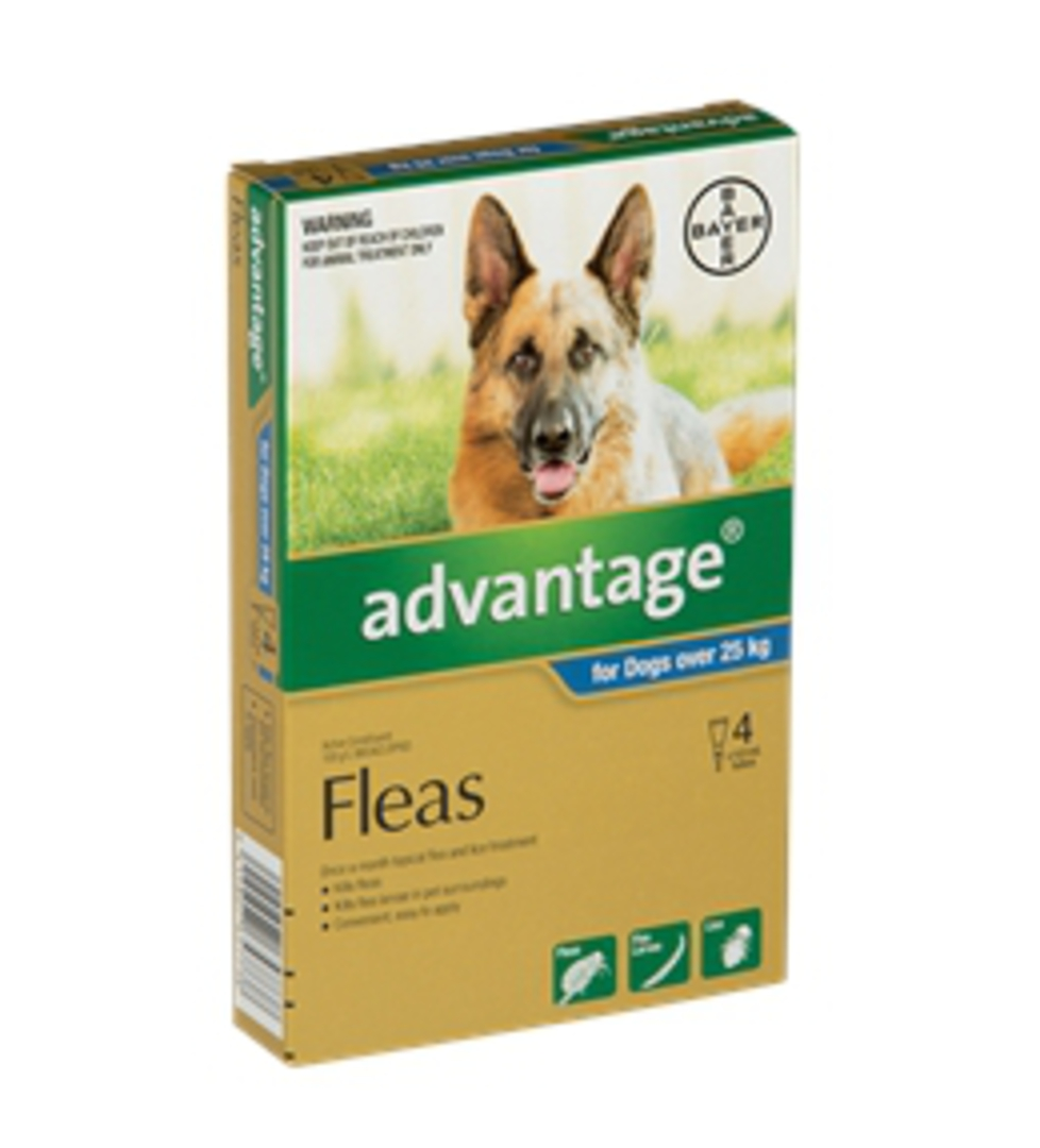 Advantage Spot-on Flea Treatment for Large Dogs +25kg (Blue / 4 pippets) image 0