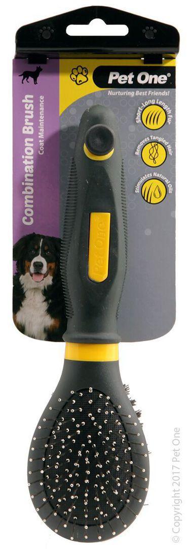 Pet One Combination Bristle & Metal Pin Brush (S) image 0