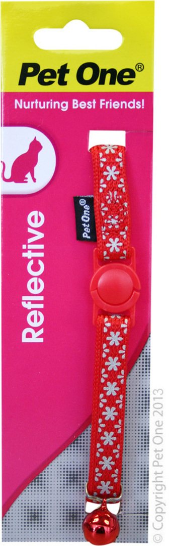 Pet One Collar for Cat & Kitten Reflective and Adjustable 10mm x 15-22.5cm Red image 0