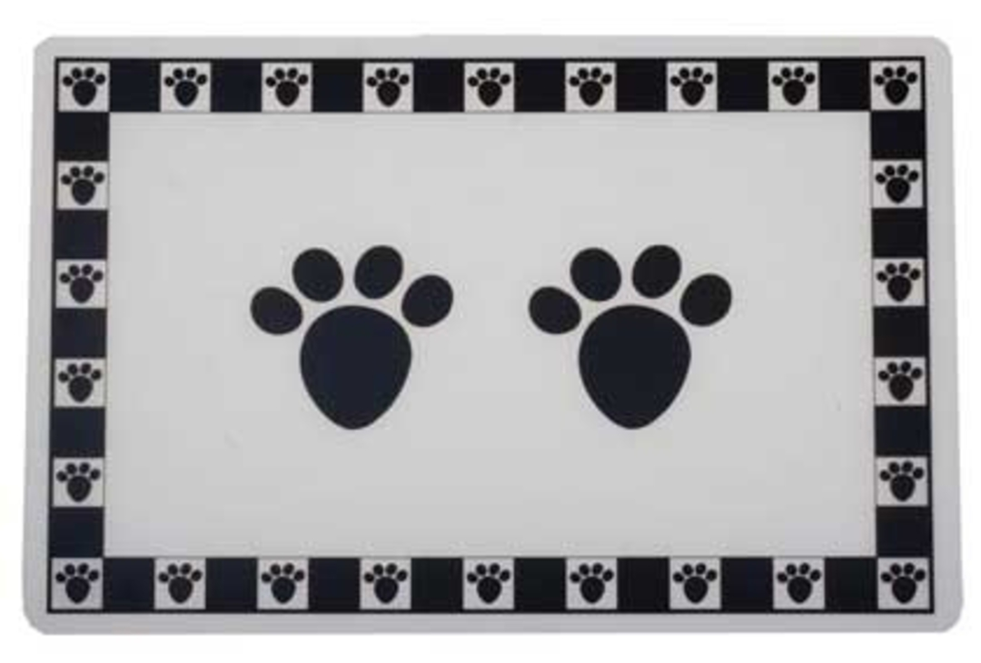 Feed Mats Pet Paws Placemat Black image 0