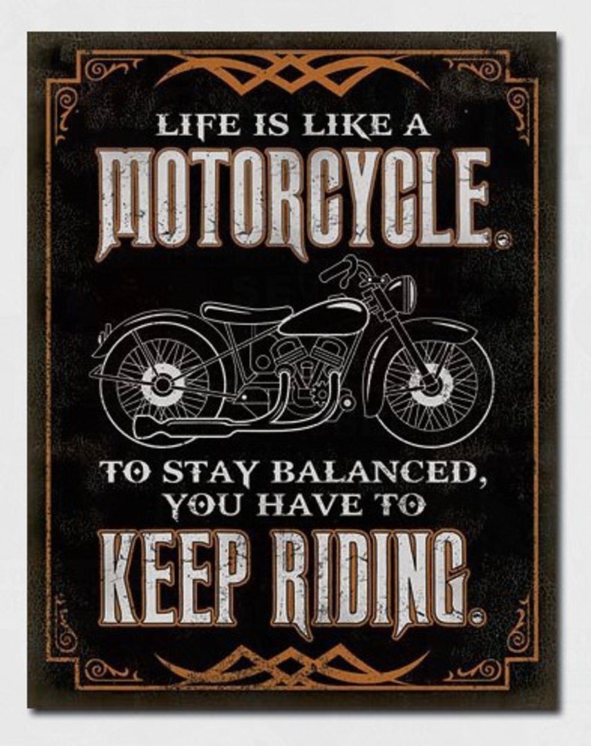Tin Sign Stay Balanced Keep Riding image 0