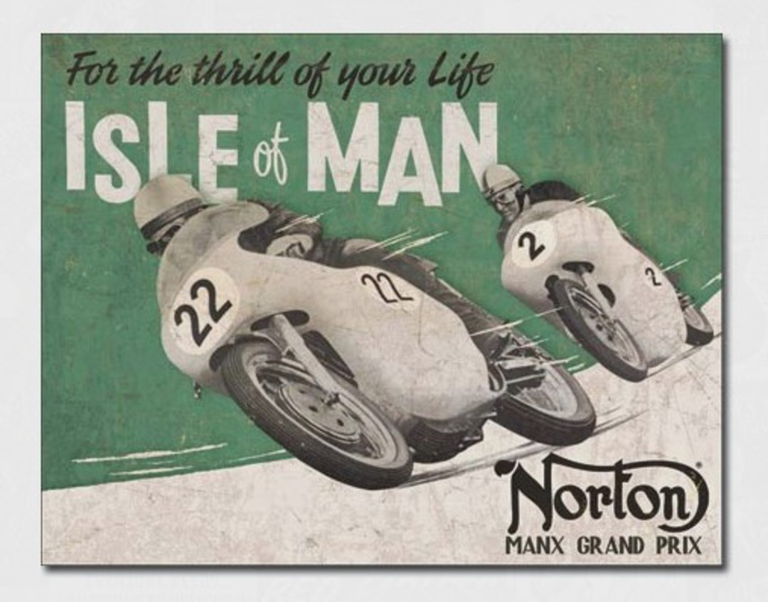 Tin Sign Norton Isle of Man image 0