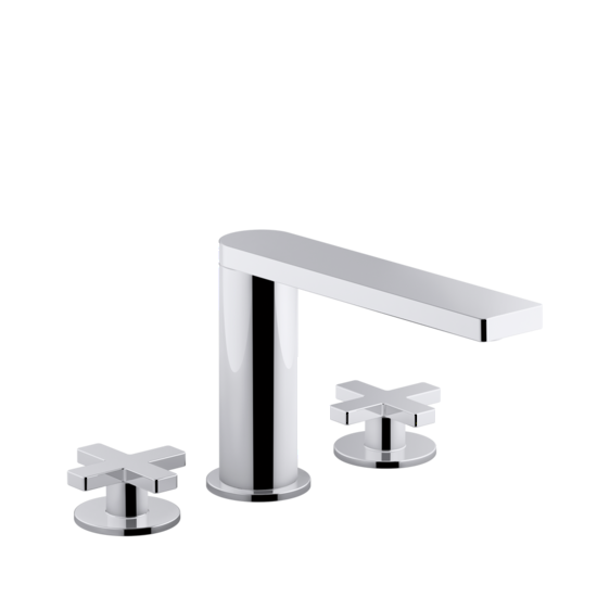 composed 3th bath set cross handles in polished chrome