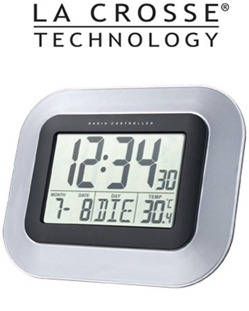 WS8005 La Crosse 24x19cm Wall Clock with Indoor Temperature image 0
