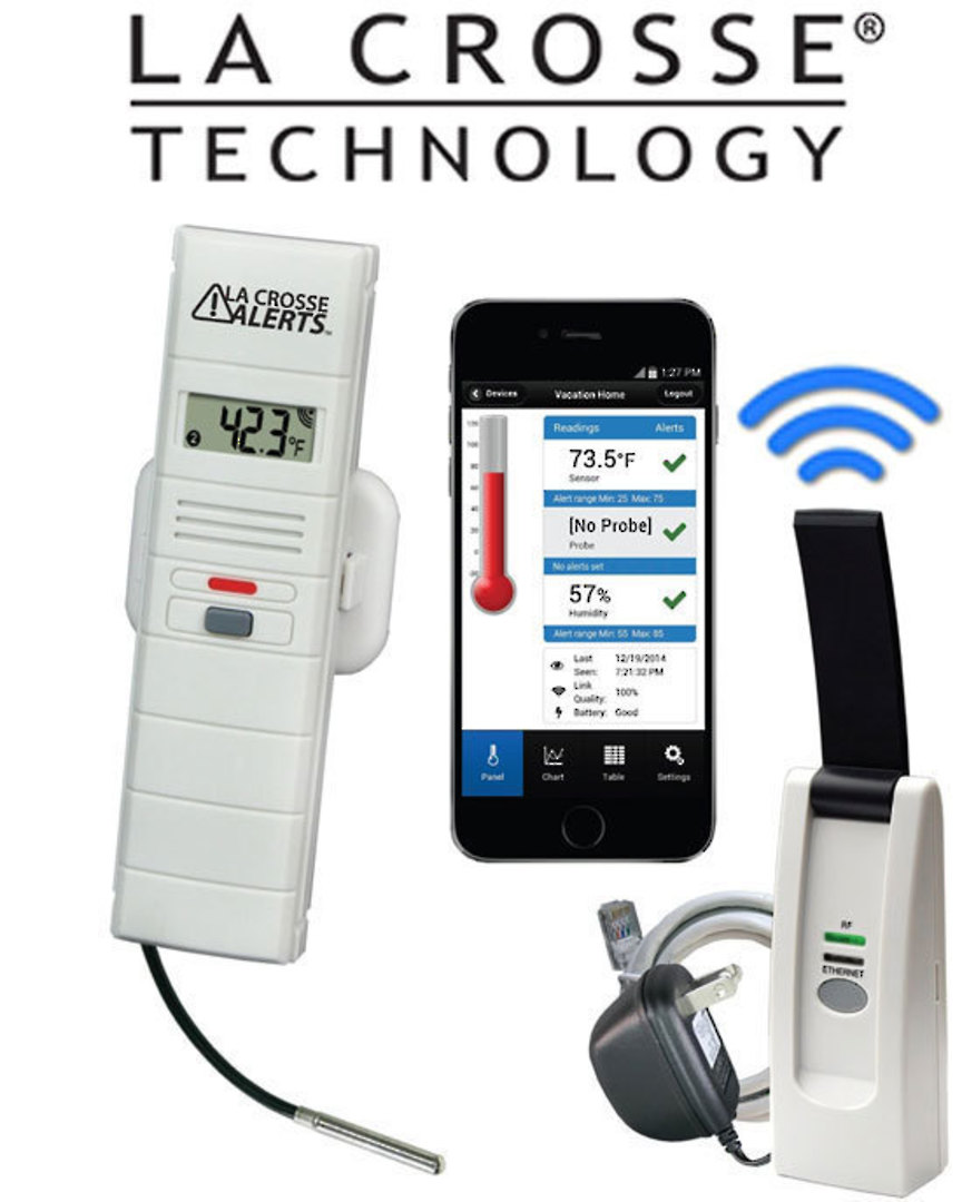 926-25102 La Crosse WIFI Temp Humidity Alert System with S/Steel Wet Temp Probe image 0