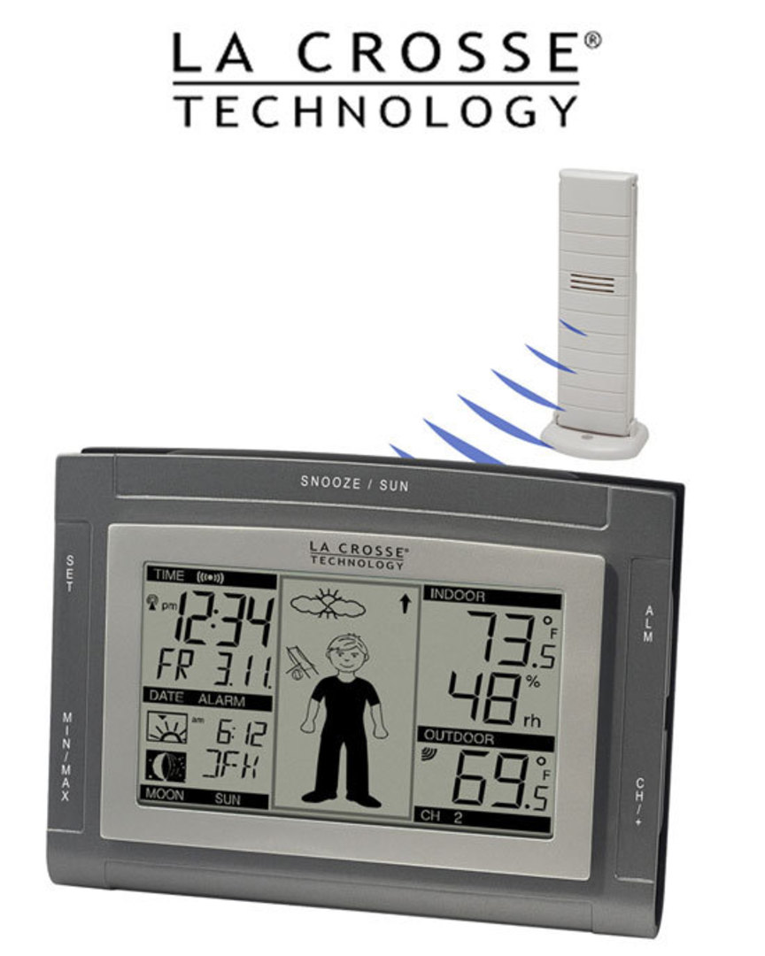 WS9611U-IT La Crosse Wireless Weather Station with Sun/Moon and Advanced Forecast Icon image 0