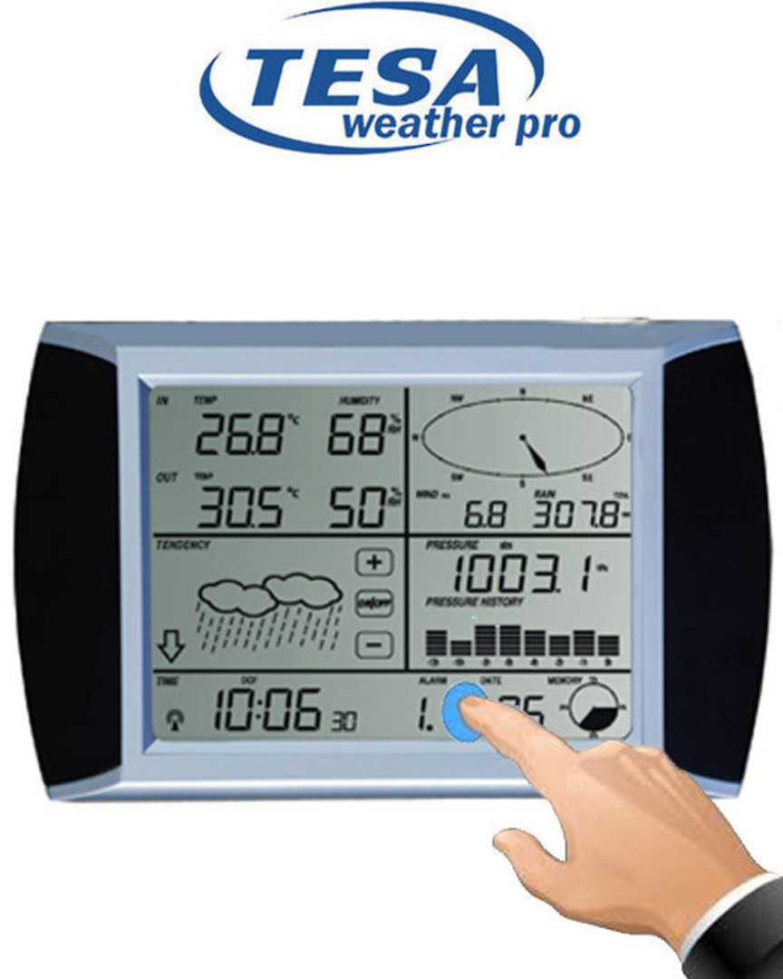WS1081 Ver3 TESA Solar Powered Touch Panel Weather Center with PC interface image 1