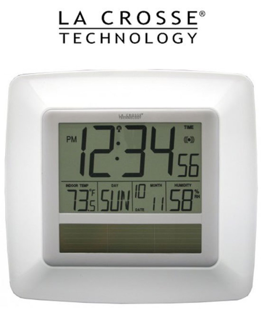 WT-8112U-WH Solar Digital Wall Clock with Indoor Tempe and Humidity image 0