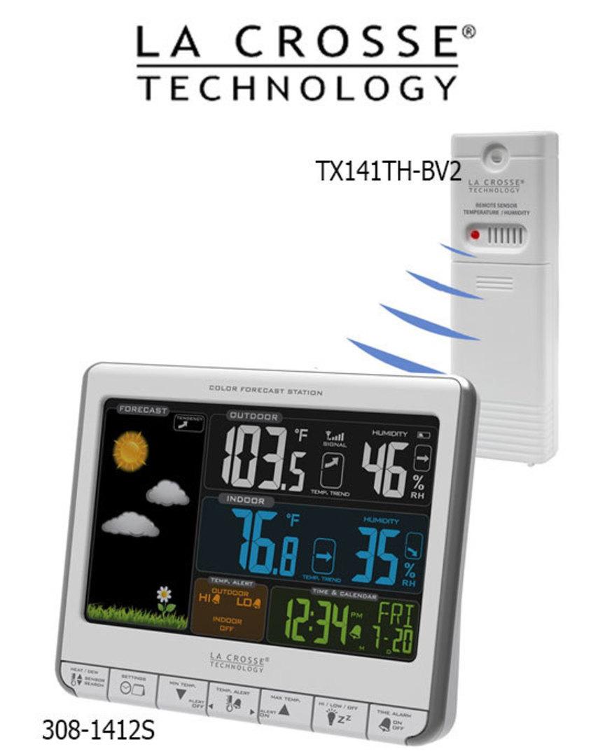 308-1412S La Crosse Colour Weather Station with USB Charging Port image 0