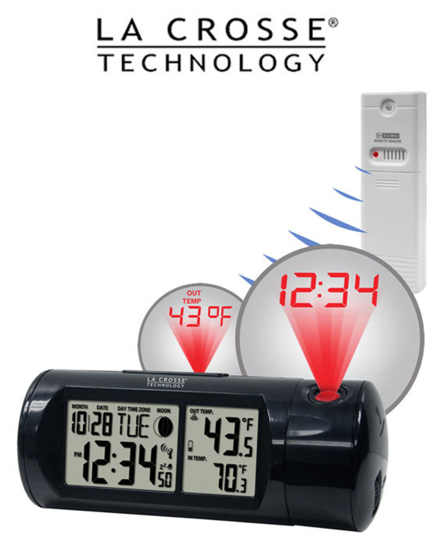 616-143 Projection Alarm Clock with In/Outdoor Temperature image 0