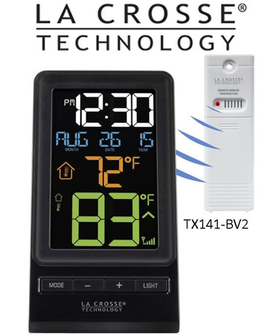 308-1415 La Crosse Colour Digital Wireless Thermometer and Time image 0