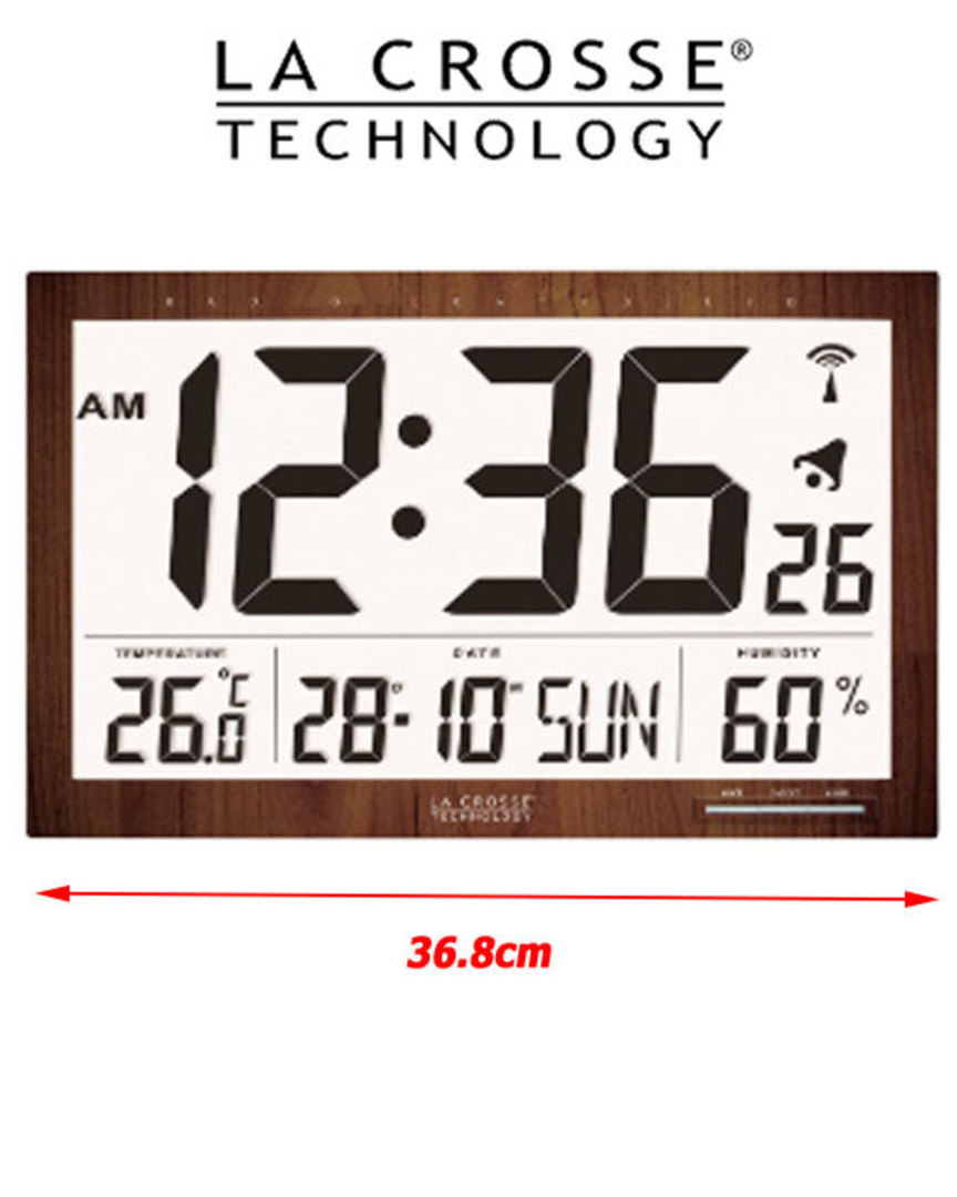 WS8007 La Crosse Large Wall Clock with Indoor Temperature Humidity image 0
