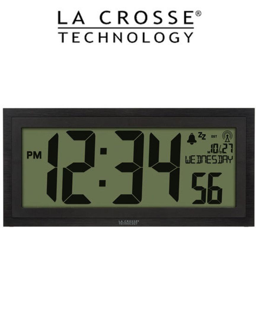 515-1419 La Crosse Large Textured Wall Clock with Indoor Temp image 0
