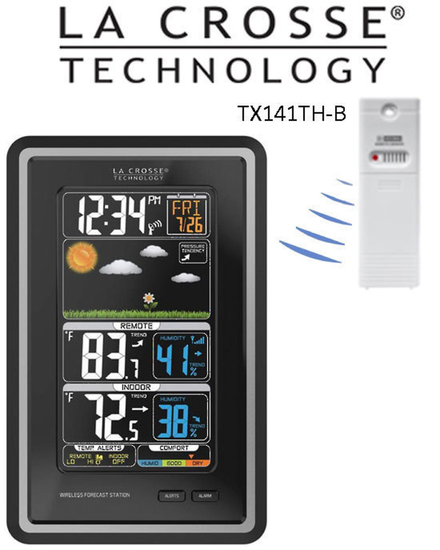308-1425C La Crosse Colour Forecast Station with Temperature Alerts image 0