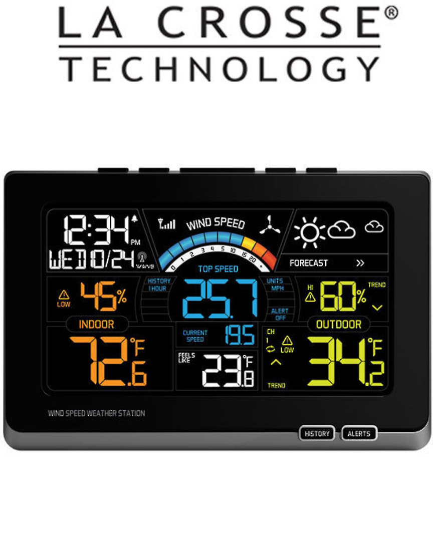 327-1414W Ver2 use EQV 327-1417 Ver2 La Crosse Wind Speed Colour Weather Station image 0