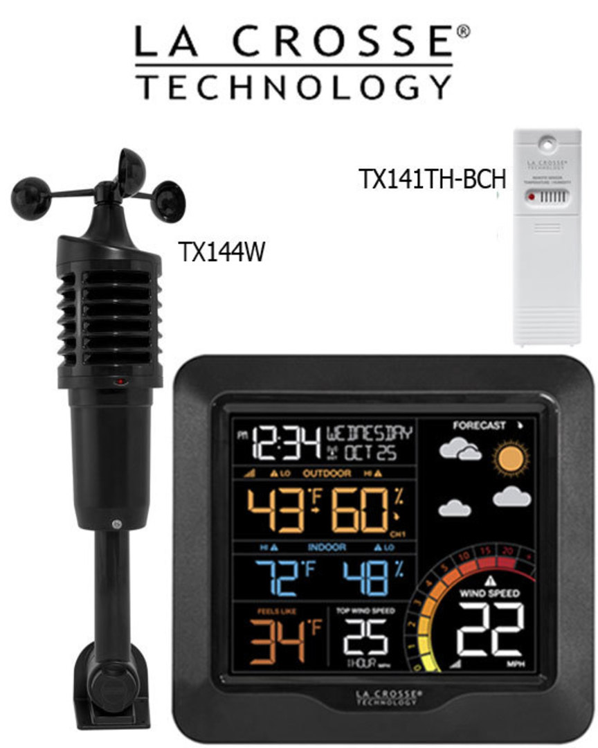 327-1417W Professional Colour Wind Speed Weather Station image 0