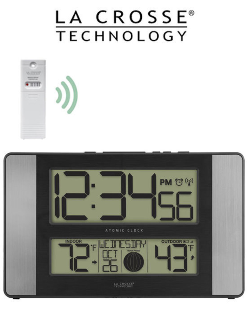 513-1417AL Moon Phase Digital Wall Clock with In/Outdoor Temp image 0