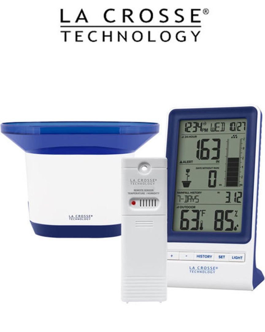724-1415BL Digital Rain Gauge with Temperature and Humidity image 0