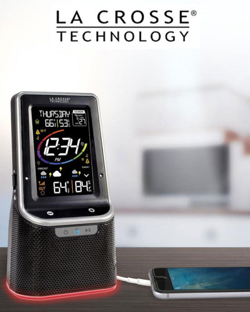 S86842-INT Wireless Colour Weather Station with Bluetooth Speaker image 0
