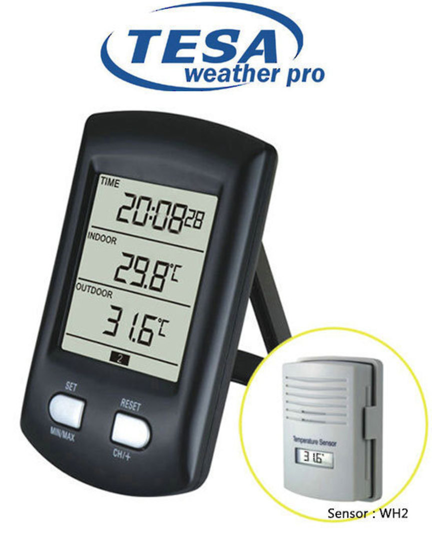 WS0200 Digital Clock Desktop Temperature Station takes up to 3 Sensors image 0