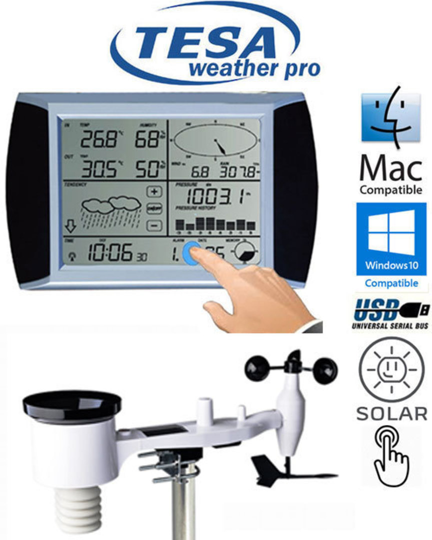 WS1081 Ver3 TESA Solar Powered Touch Panel Weather Center with PC interface image 0