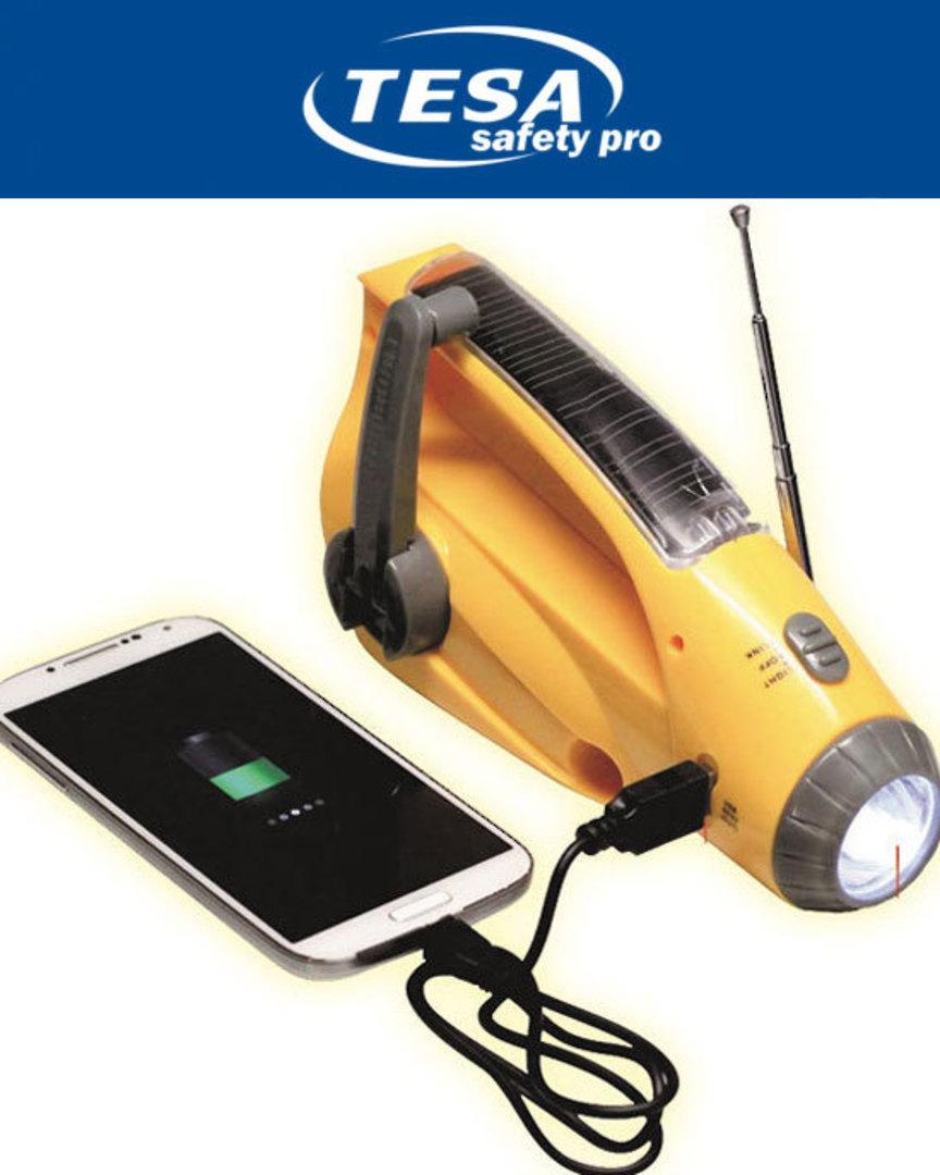 Solar Dynamo Radio Flashlight Siren + 5V USB smartphone charging for Emergency and Outdoors image 0