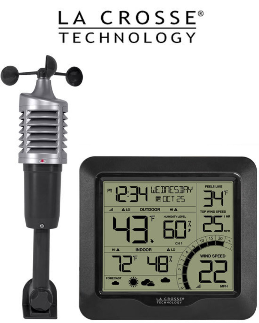 327-1417BW Professional B/W Wind Speed Weather Station image 0