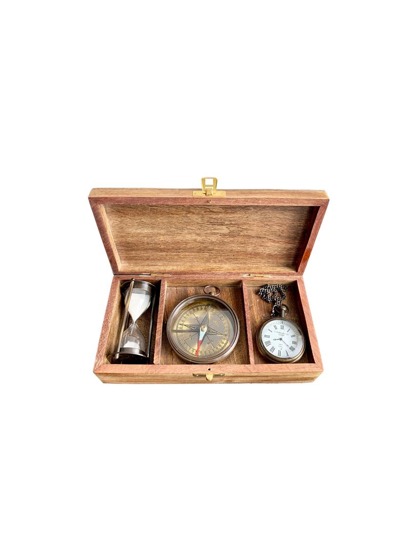 WOODEN GIFT BOX W/BRASS SET/3 CLOCK,COMPASS,SAND TIMER image 0