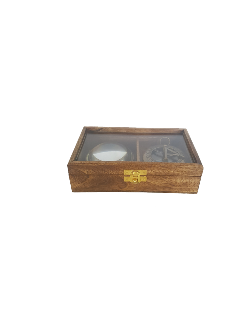 WOODEN GLASS TOP GIFT BOX SET/2 COMPASS, MAGNIFIER image 0