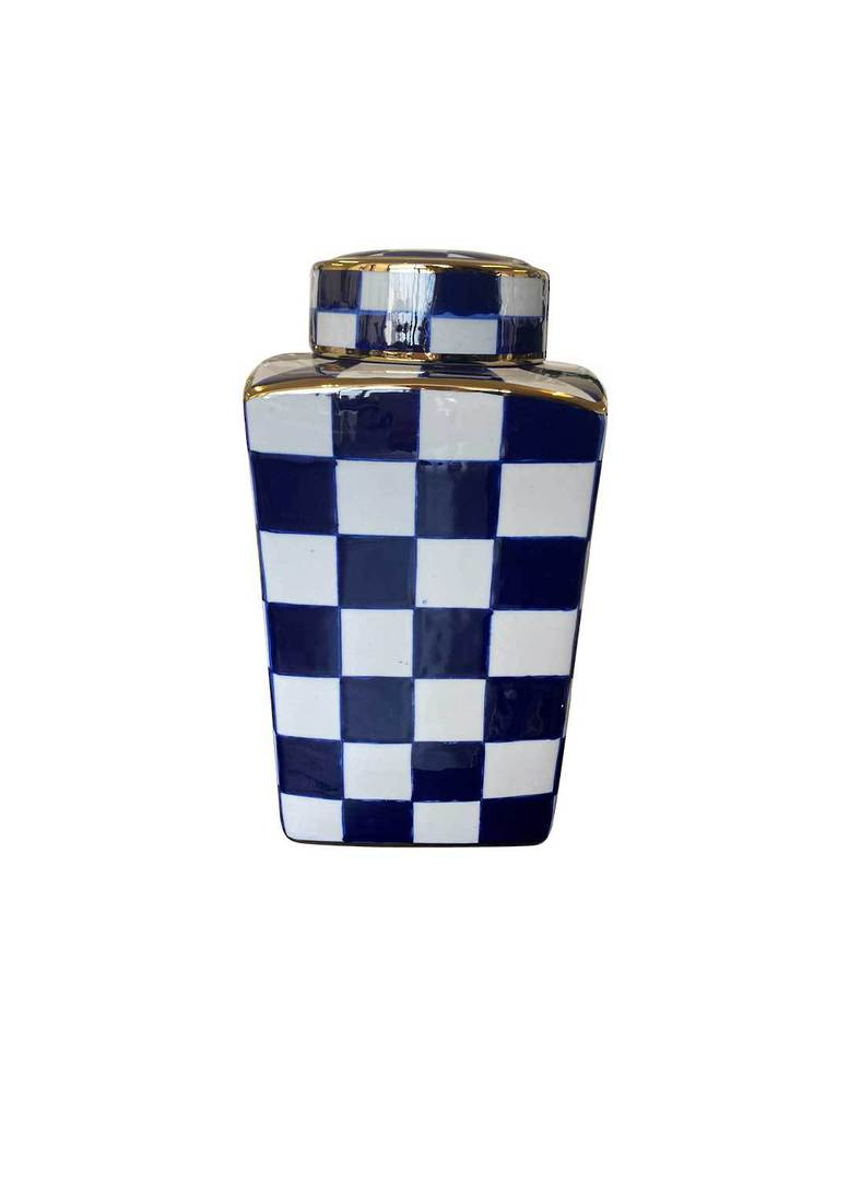 SET/2 CHECKED DESIGN VASES WITH LID image 1
