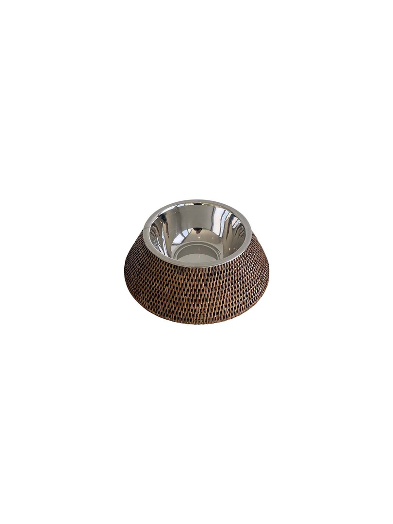 PET FOOD/WATER BOWL WITH RATTAN SLEEVE image 1